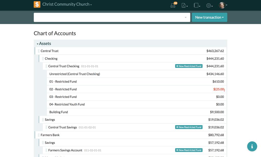 Church360 Ledger Chart of Accounts