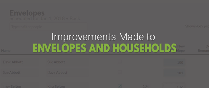 Improvements Made to Envelopes and Households