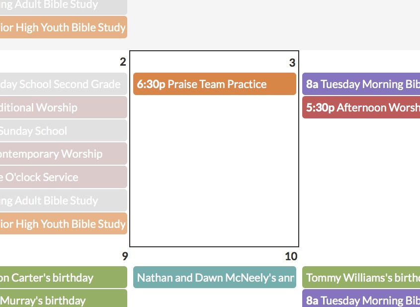 July Updates Calendar Showing Today Not Grayed Out Church360 Members