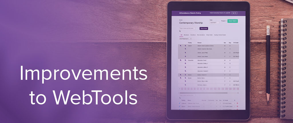 Improvements to WebTools