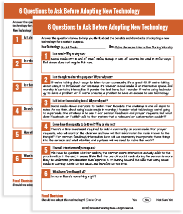 New Technology Adoption Worksheet