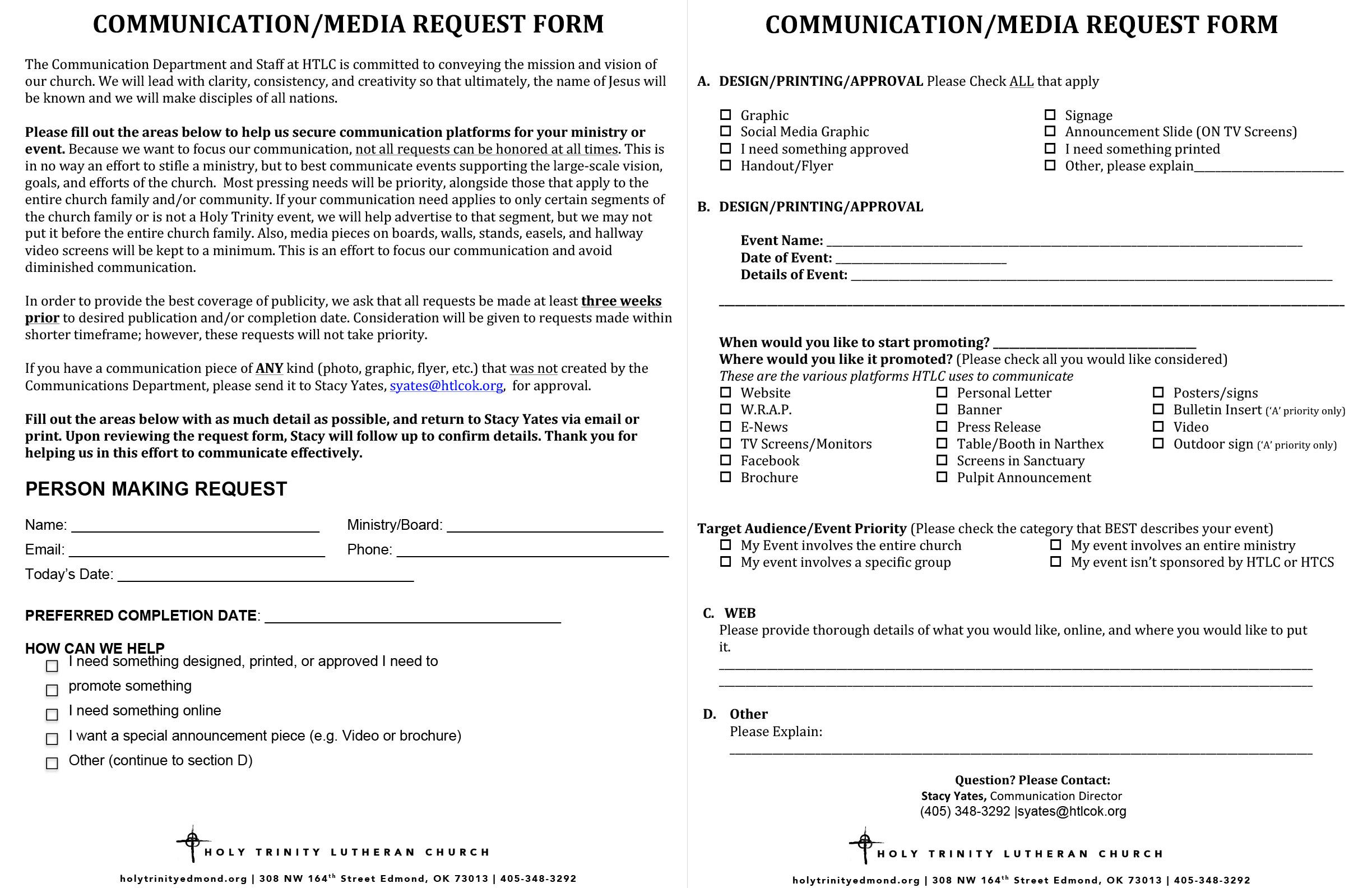 Communication/Media Request Form