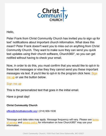 Church360° Members Texting Opt-In Email