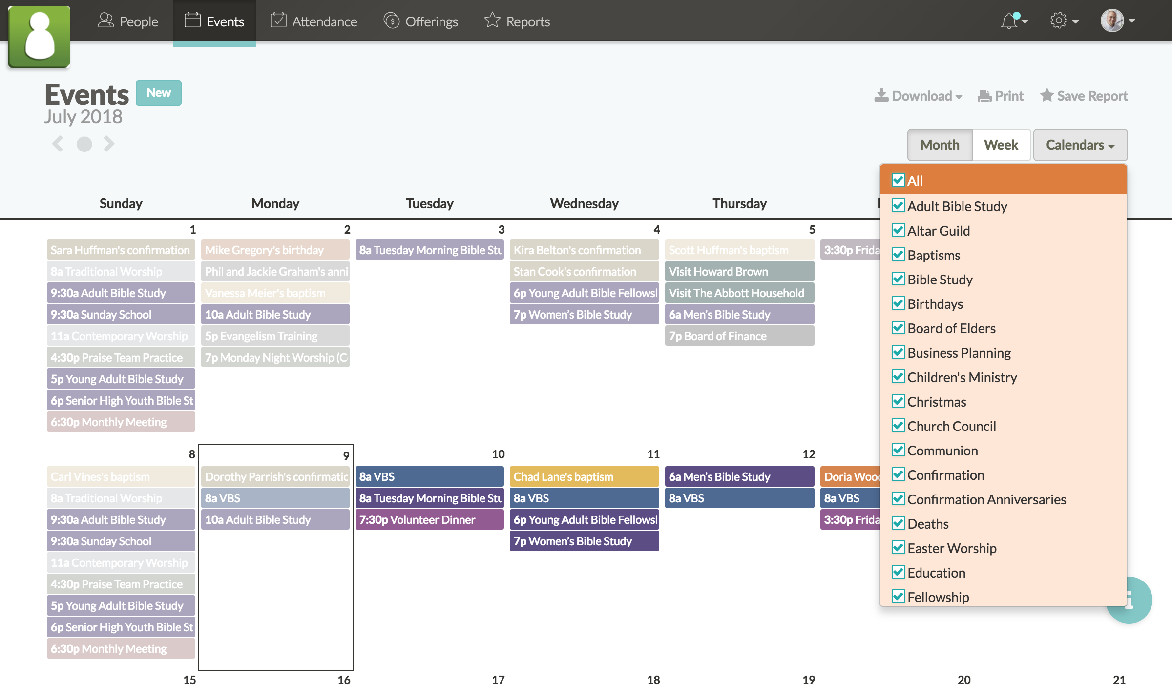 Screenshot showing list of different calendars
