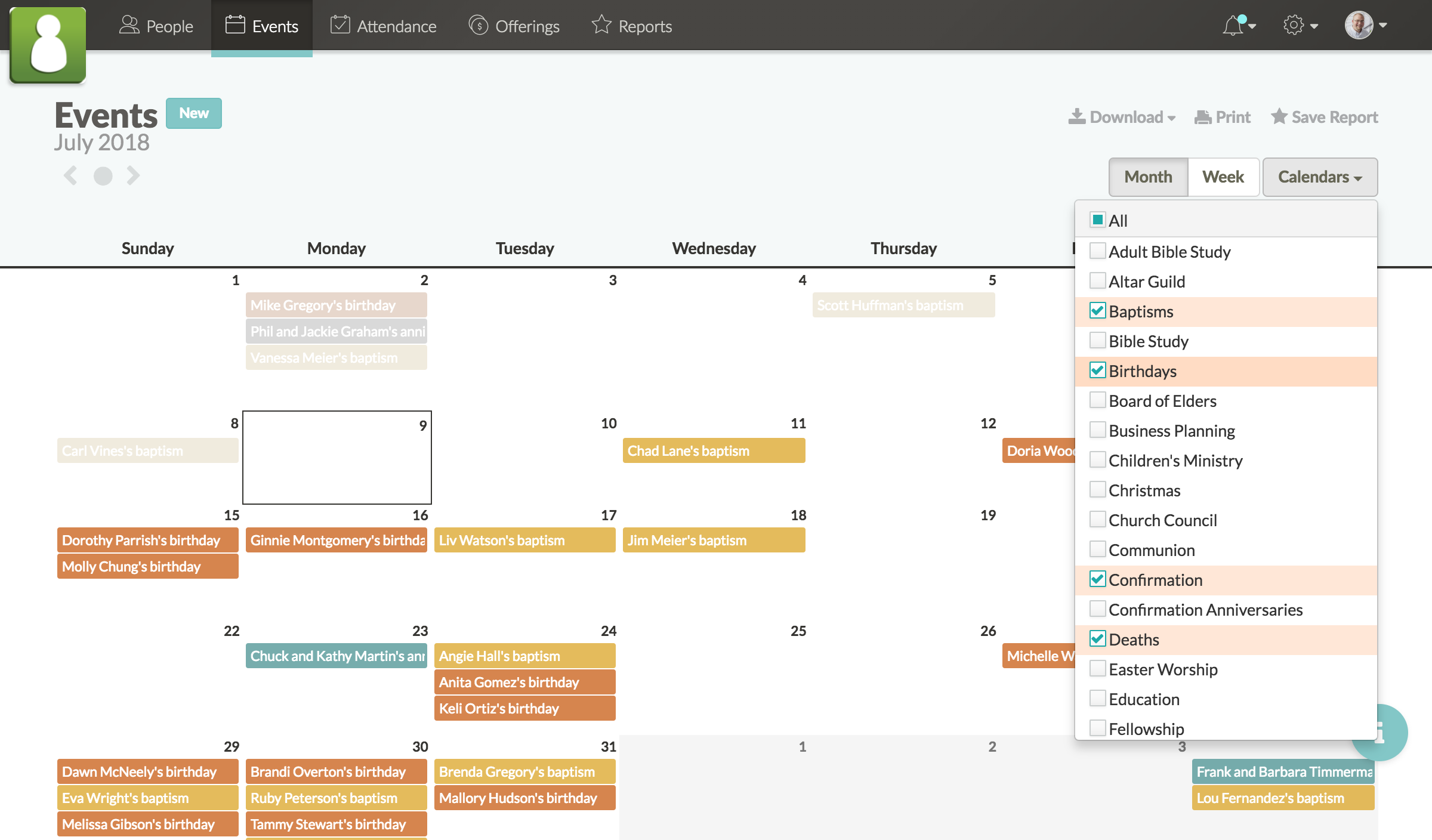 Screenshot of calendar with baptisms, birthdays, confirmations, and deaths