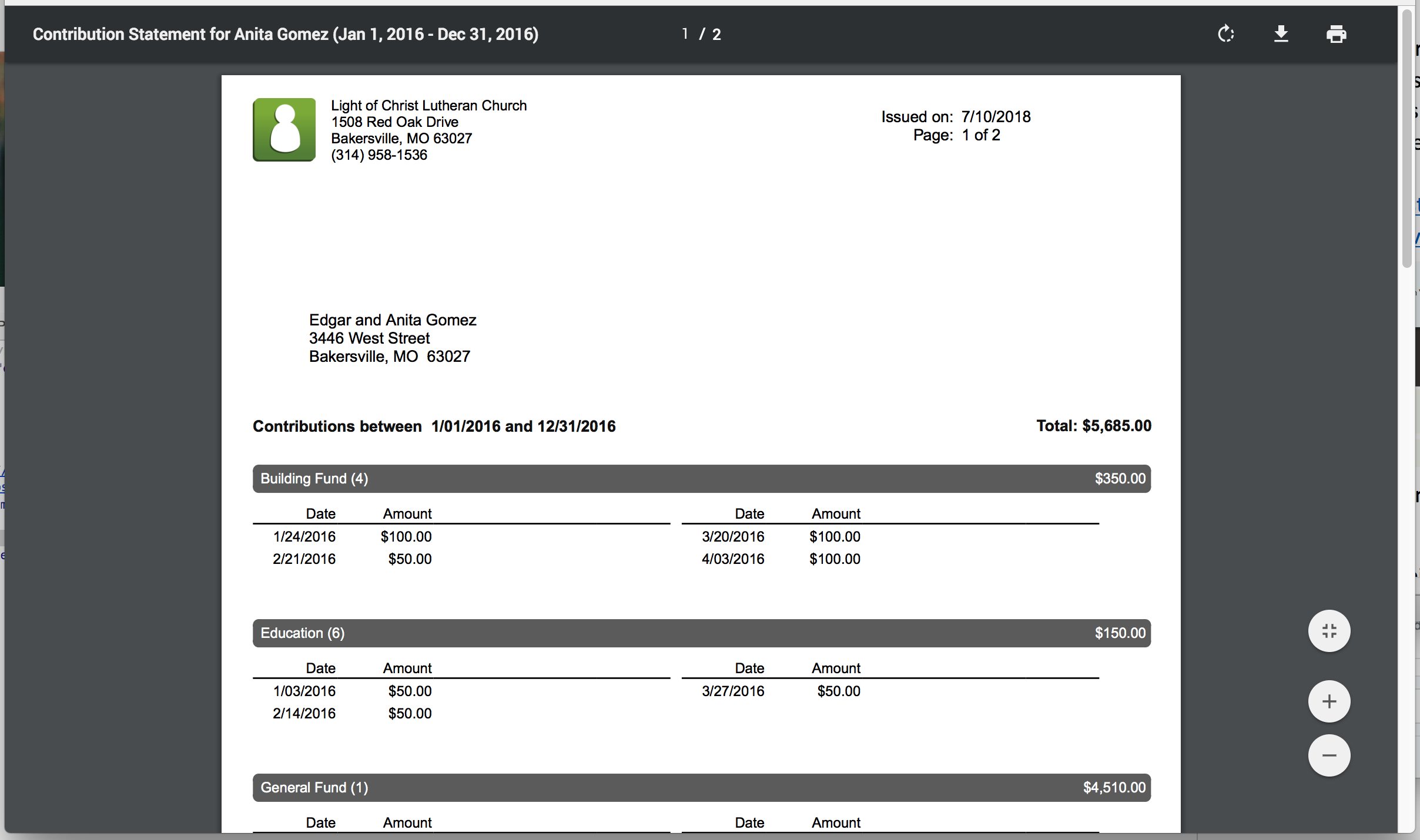Screenshot of giving statement PDF to email and print