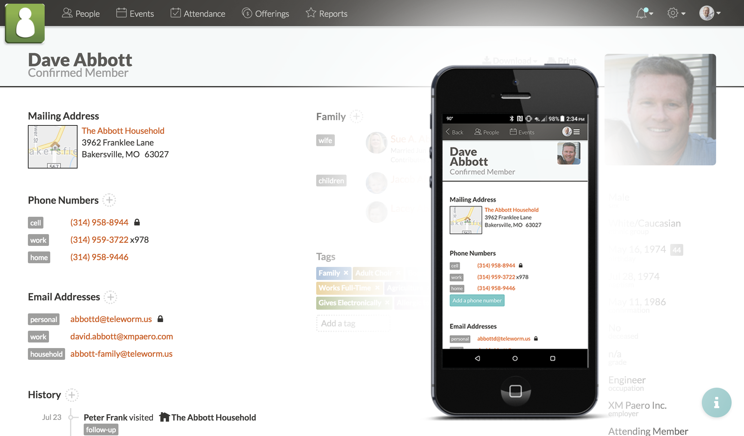 Screenshot showing member contacts on both desktop and phone