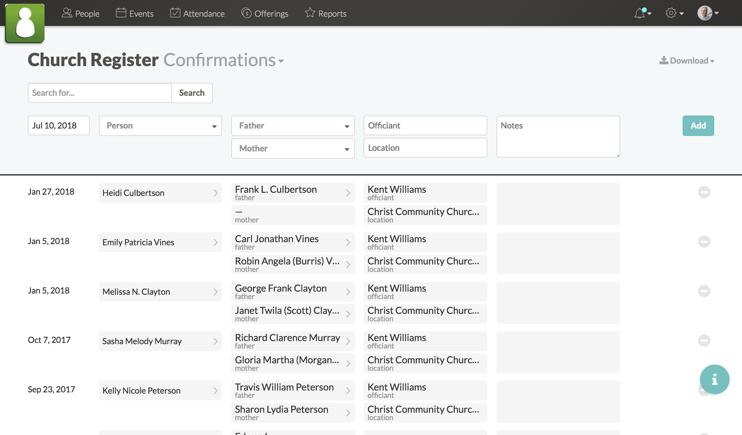 Screenshot of confirmation list in church register