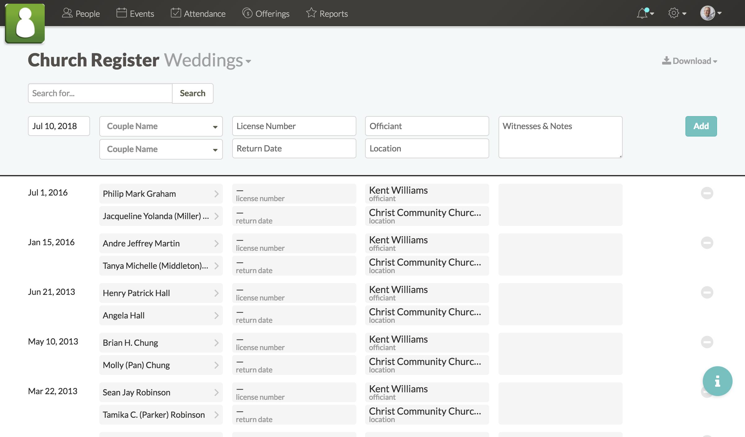 Screenshot of wedding list in church register