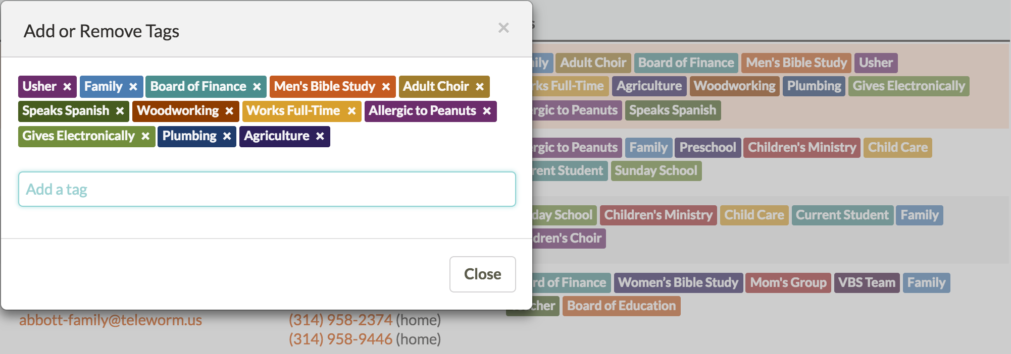 Screenshot of tags and smart groups