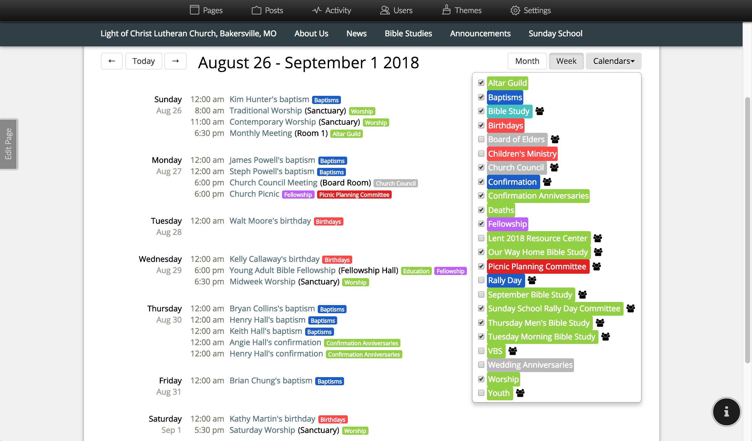 Screenshot Showing Events on Multiple Calendars
