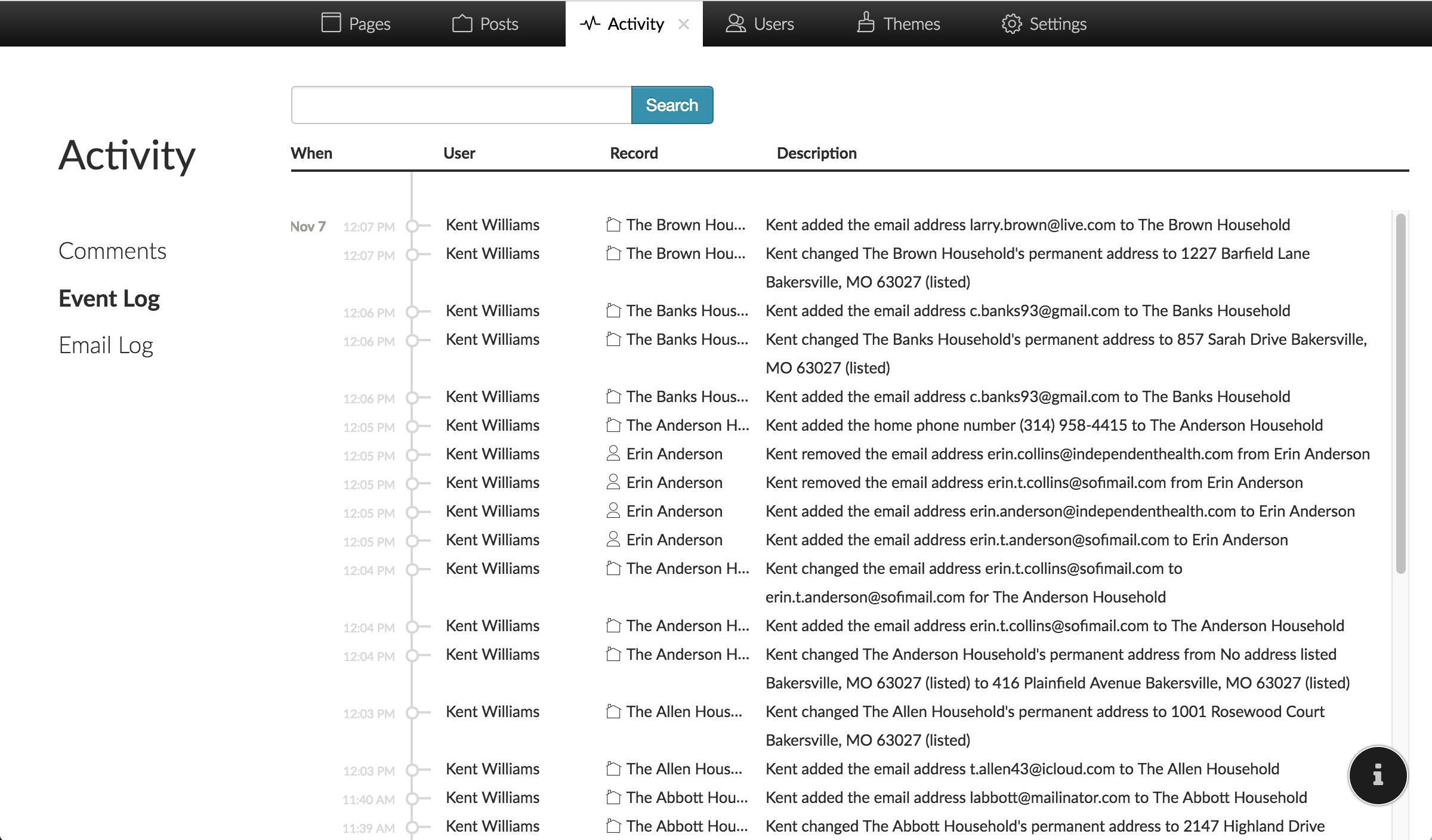 Screenshot of Event Log