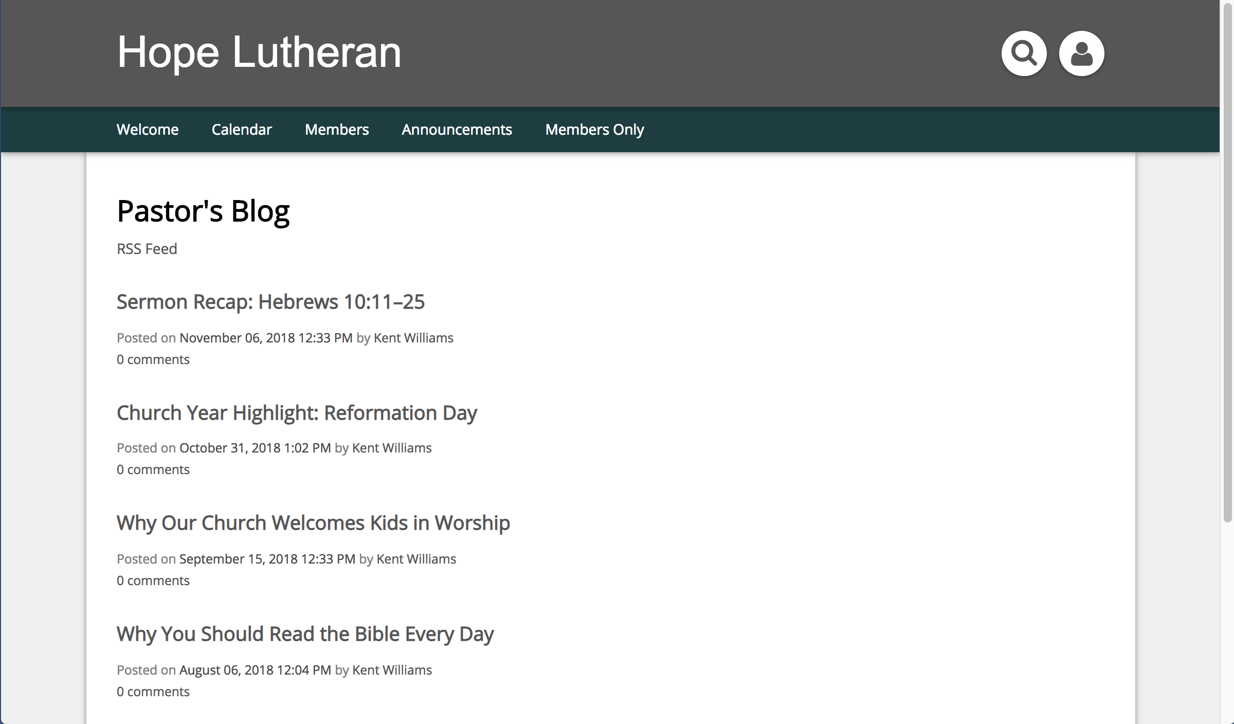 Screenshot of Feed Used for Pastor's Blog