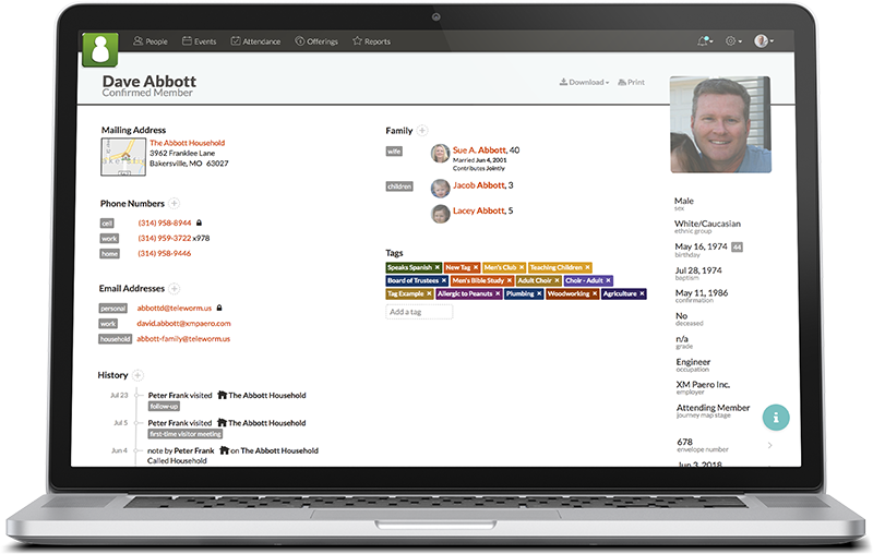 Screenshot of Church360 Members on a laptop browser